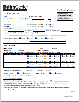 Adult Counseling Form