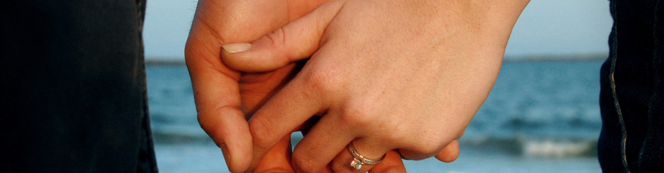 engaged holding hands